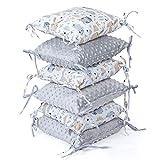 protector cuna chichonera 6 almohadas - parachoques bebe chichoneras 30 x 30 cm (gris, 6 almohadas...