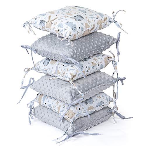 Polster Gitterbett 6 Kissen - Baby Nestchen Kissen Babybett Bettumrandung (Grau, 6 Kissen: 30 x 30 cm)