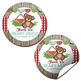 Teddy Bear Picnic Birthday Party Thank You Sticker Labels, 40 2' Party Circle Stickers by AmandaCreation, Great for Party Favors, Envelope Seals & Goodie Bags