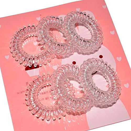 Miya ® lot de 3 élastiques à cheveux crystal clear transparent de haute qualité à élastique en plastique-câble téléphonique spirale mini telefonhaargummi, cheveux, bracelet