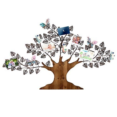 Casa Vivente Wanddekoration Baum, Stilvolles Memoboard aus Holz und Metall, Pinnwand für Fotos und Postkarten