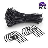 1000 Piezas bridas de plástico para cables, con cierre automático de nailon, para el hogar, la oficina, el garaje y el taller cables de electricista, 100 x 2,5 mm