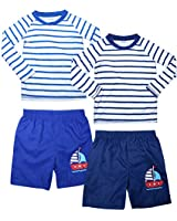 Sweet and Soft Boys 4-Piece Rash Guard and Trunk Swimsuit Set – Long Sleeve (Infant/Toddler/Big Kid) (Stripe LS, 12 Months)