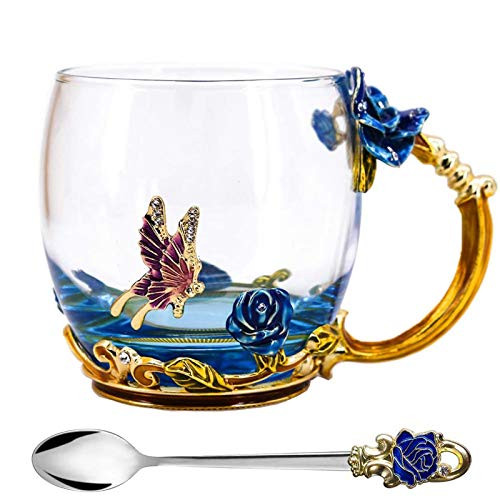Tea Cup, Mothers Day Gifts, Coffee Mug, Clear Glass Cups with Spoon Set, Lead Free Handmade Butterfly, Unique Rose Flower Enamel Design, Birthday Decoration Wedding Gift Ideas (Blue Short)