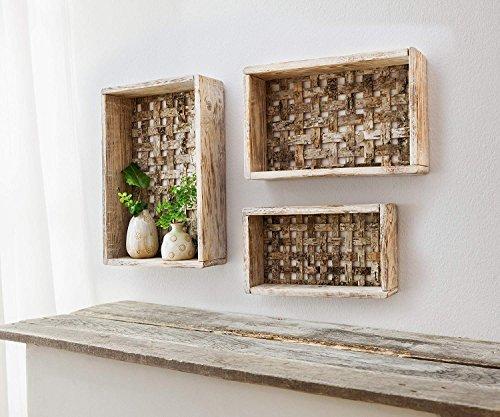 """3er Set Deko Wandregale """"Birkengeflecht"""" aus Holz, Dekoregal, Cube"""