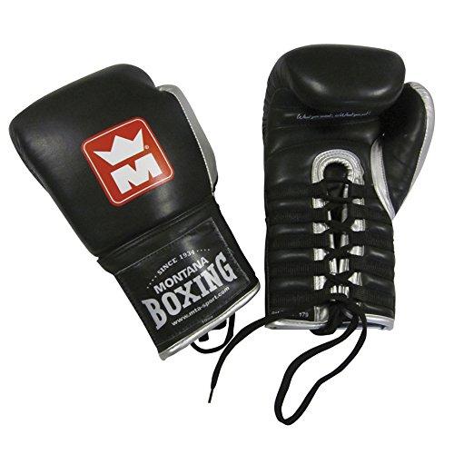 Montana Pro L Boxhandschuhe, Unisex, mit Schnürung 284 g Schwarz