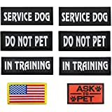 🐕PACKAGE INCLUDES: 2 pcs SERVICE DOG patches + 2 pcs IN TRAINING patches+ 2 pcs DO NOT PET patches. Size: 6.3 inch x 2 inches. AND 1Pcs Flag + 1Pcs ASK TO PET embroidered patches. Size: 3.15 * 2 inches. Please confirm your harness or vest size. 🐕PREM...