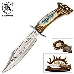 K EXCLUSIVE Wolf Fixed Blade Bowie Knife With Antler Sheath