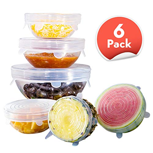 Orblue Silicone Stretch Lids, 6-Pack of Various Sizes Reusable Silicone Lids for Different Shapes of Containers - Eco-Friendly, Dishwasher Safe - BPA-free and Leak-proof (Clear)