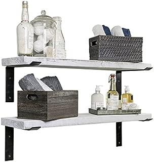 Industrial Shelves w/Metal Brackets (Set of 2) - del Hutson Designs, USA Handmade, Pine Wood (36 Inch / 3 Ft, White)