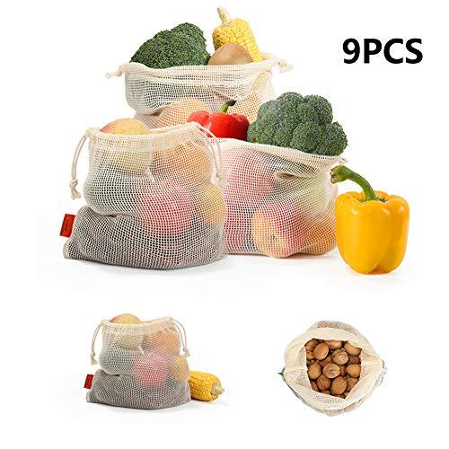 YFGlgy Bolsas de Productos Reutilizables - Juego de 9 - Varios tamaños - Malla de algodón orgánico - Lavable - Diseño ecológico con Doble cordón