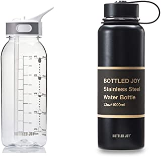 BOTTLED JOY 32oz Water Bottle and 32oz Insulated Water Bottle with Time Marked Suite Products, Tritan BPA Free Water Bottl...