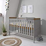 Rio Wooden Cot Bed & Cot Top Changer (<span class='highlight'>Tutti</span> <span class='highlight'>Bambini</span>) - 3 in 1 Convertible Baby Cot Bed, Toddler Bed and Matching Cot Top Baby Changer (Dove Grey & Oak)