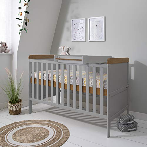 Rio Wooden Cot Bed & Cot Top Changer (Tutti Bambini) - 3 in 1 Convertible Baby Cot Bed, Toddler Bed and Matching Cot Top Baby Changer (Dove Grey & Oak)