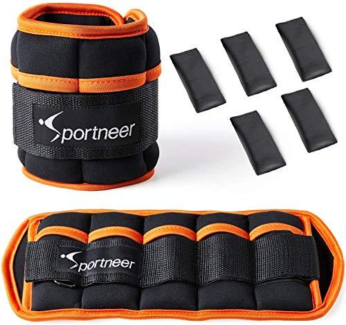 Sportneer Gewichtsmanschetten Fuß, Verstellbares Fußgelenkgewichte Set, Fuß-/Handgelenkgewicht Manschetten, 0,45kg bis 3,2 kg Gewichte 1 Paar für Beine und Arme, für Fitness, Bewegung, Laufen