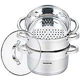 Mantowarka KB-7145 - Juego de cocina al vapor (24 cm, apta para inducción, tapa de cristal, 4 elementos)