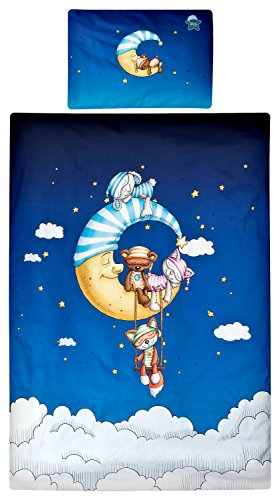 Aminata Kids süße Lizenz-Bettwäsche-Set Schlafmütze 100x135 cm + 40 x 60 cm aus Baumwolle mit Reißverschluss, unsere Baby-Kinder-Bettwäsche mit Schlafmützen-Motiv, Sonne, Schlaf-Mond & Sterne, blau
