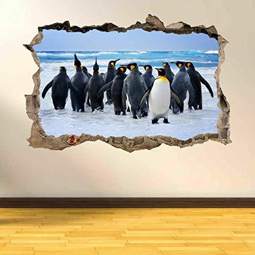 Pegatinas de pared Pingüinos Pájaros acuáticos 3D Smashed Wall Art Stickers Niños Dormitorio Nursery AC26-60x90cm