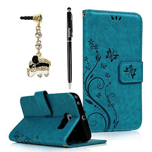 BADALink Hülle für SamsungGalaxy S6 Edge Schutzhülle Flip Case Magnetverschluss Cover Handyhülle Blau Eingabestift Staubstecker