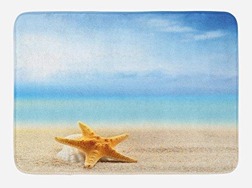 Ambesonne Starfish Bath Mat, Scallop Seashell and Starfish Close up Sandy Beach Idyllic Ocean Backdrop Design, Plush Bathroom Decor Mat with Non Slip Backing, 29.5' X 17.5', Earth Yellow