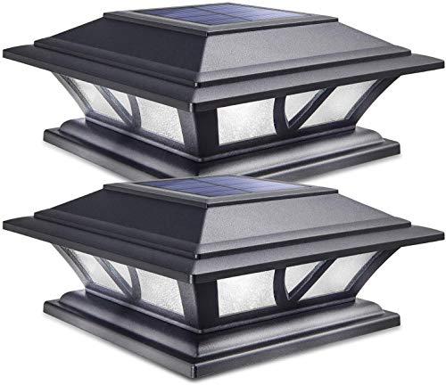 Siedinlar Luci per paletti solari Lampada ad energia solare esterni 2 modalità LED Illuminazione Bianca calda/Bianca fredda Luce per recinzione 4x4 5x5 6x6 Pilastro Patio Giardino Decor Nero (2 PACK)