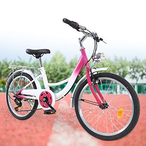 Kinderfahrrad 20 Zoll Mädchen Jungen Kinder Fahrrad 6 Gang Mountainbike mit Lampe für 12-16 Jahre (Rosa + Weiß)
