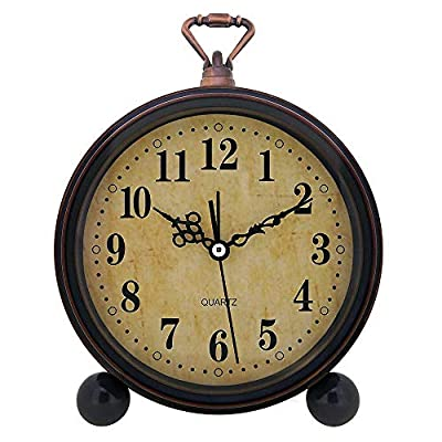 Konigswerk Slash Vintage Retro Old Fashioned Decorative Quiet Non-ticking Sweep Second Hand, Quartz Analog Large Numerals Desk Clock, Battery Operated, Loud Alarm