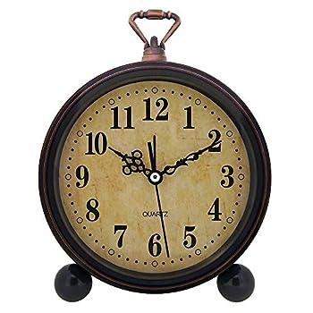 Konigswerk Vintage Alarm Clock  Analog Silent Small Bedside Desk Clock Battery Operated for Table Living Room Decor Shelf Gift Clock  Classic