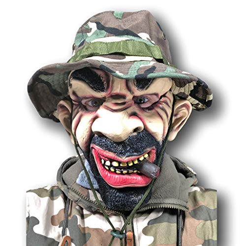 Rubber Johnnies Drill Sergeant Maske, Vollmetall, Army Captain Platoon Camo Hut Kostüm