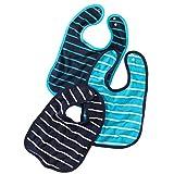 wellyou Baby-Lätzchen mit Druckknopf | größenverstellbarer und strapazierfähiger Klecker-Schutz | im 3er Set | aus 100% Baumwolle | klassisch gestreift in marine-blau, türkis und weiß