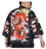 LifeHe Men's Kimono Japanese Floral Printed Kimono Cardigan Shirts Jackets