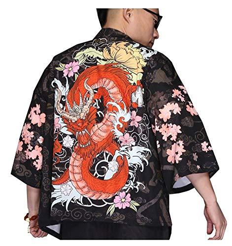 LifeHe Men's Kimono Japanese Printed Kimono Cardigan Jackets (Dragon, M)