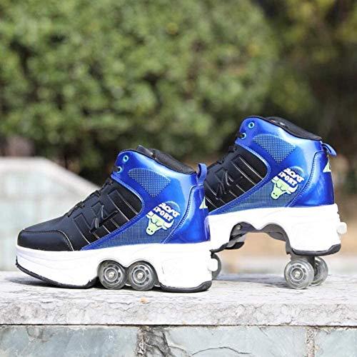2-in-1 rolschaatsen voor volwassenen, vervormingsschoenen, wit, multifunctionele outdoor sportschoenen, maat 38