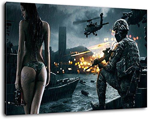 Dark Battlefield Format 100x70 cmfertig gerahmte Kunstdruckbilder als Wandbild - Billiger als Ölbild oder Gemälde - KEIN Poster oder Plakat