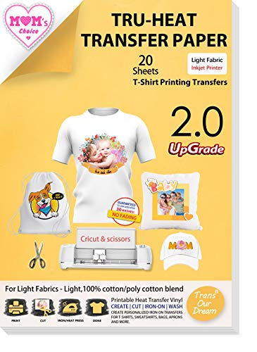 TransOurDream UPGRADED Iron on Heat Transfer Paper for T Shirts (20 Sheets, 8.5x11') Iron-on Transfers Paper for Light Fabric Printable Heat Transfer Vinyl for Inkjet Printer (TOD-4)