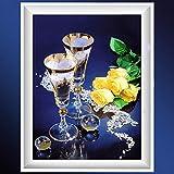Hncsy Diamond Painting DIY 5D Strass Broderie Point De Croix Pleine Diamant Art Craft Décoration Murale Grand Image Verre À Vin Rose, 60X83Cm