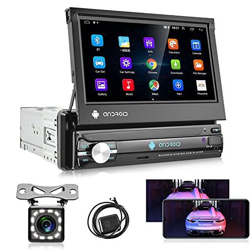 Hodozzy Android Autoradio 1Din 7\'\' kapazitiver ausklappbarer Touchscreen Autoradio mit WiFi GPS Navi Auto Multimedia Player FM Radio 1Din Autoradio + Rückfahrkamera