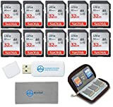 SanDisk 32GB Ultra SD Memory Card (10 Pack) SDHC UHS-I Card 90MB/s Class 10 (SDSDUNR-032G-GN6IN) Bundle with (1 Each) SD Card Wallet, Everything But Stromboli Microfiber Cloth and SD Card Reader