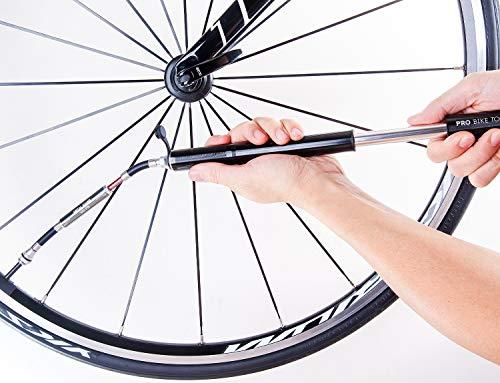 Mini Fahrradpumpe mit Manometer für Presta & Schrader Ventile- Hoher Druck bis 6,9 Bar – zuverlässig, kompakt & leichte Rahmenpumpe mit Druckmessgerät – Pumpe für Rennrad, Mountainbike (Schwarz) - 3