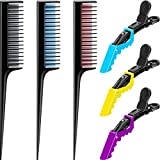 6 Pieces Triple Teasing Comb with Clips Set, Rat Tail Comb for Braids Layers Pintail Comb and Salon Hair Clips Alligator Styling Sectioning Clips Styling Clips for Men Women Girl Salon Supply