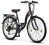 Licorne Bike Stella Premium City Bike 24,26 et 28 pouces – Vélo pour filles, garçons, hommes et femmes – Dérailleur Shimano 21 vitesses – Vélo hollandais, Garçon, Noir , 26