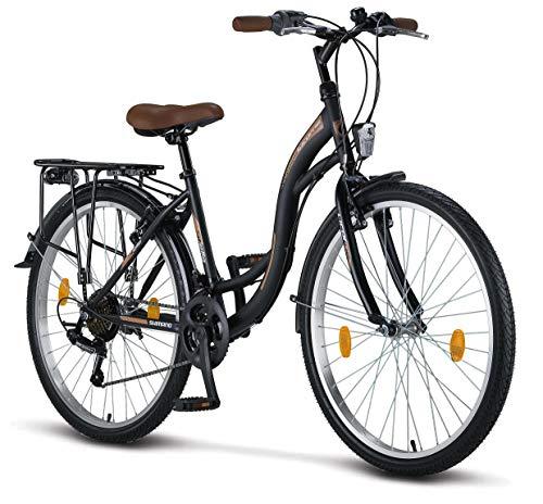 Licorne Bike Stella (Schwarz) 26 Zoll Damenfahrrad, CTB ab 145 cm, Fahrrad-Licht, Shimano 21 Gang-Schaltung, Damen-Citybike, Mädchen-Citybike, Mädchenfahrrad