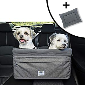 Boosta Pooch Large Dog Car Seat Double or Single Ideal for Two Small Dogs or One Medium Dog Weighing up to 30 Pounds or 14kgs