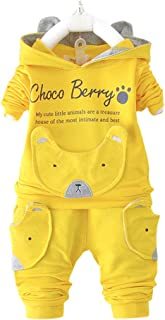 Hopscotch Boys' Cotton Applique Text Hoodie and Pant Set in Yellow