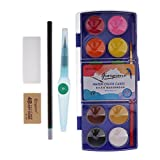 Non-brand Set de Pigmentos de Pintura de Acuarela Sólidos Portátiles de 12 Colores con Pincel DIY