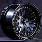 JNC Wheels - 15' JNC001 Matte Black w/Gold Rivet Rim - 4x100-15x8 inch (1 Single Wheel Only)