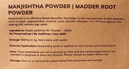 MB Herbals Manjishtha Powder 227g | Half Pound | 100% Pure Rubia cordifolia Root Powder | Organically cultivated Indian Madder Root Powder Manjistha | Promotes Healthy Skin and Hair