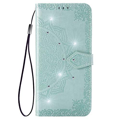 Jeewi Hülle für Huawei Honor View 20 Hülle Handyhülle [Standfunktion] [Kartenfach] [Magnetverschluss] Tasche Etui Schutzhülle lederhülle klapphülle für Huawei Honor View20 - JESD030604 Grün