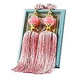 Urstory1 1 par de alzapaños de cortina para bricolaje dormitorio borlas con cuentas cuerda