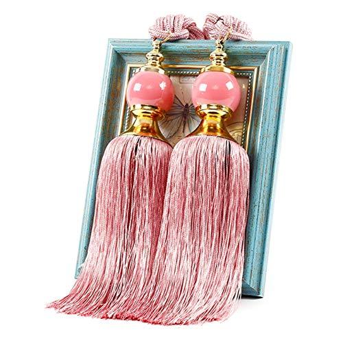 VICV2RO alzapaños para cortina, borlas de borlas, 1 par de alzapaños de cortina con cuentas de cristal, clips de amarre para decoración del hogar